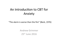 An Introduction to CBT for anxiety