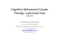 Cognitive Behavioural Couple Therapy: A personal view