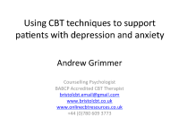 CBT for depression and anxiety for GPs: 23rd May 2018
